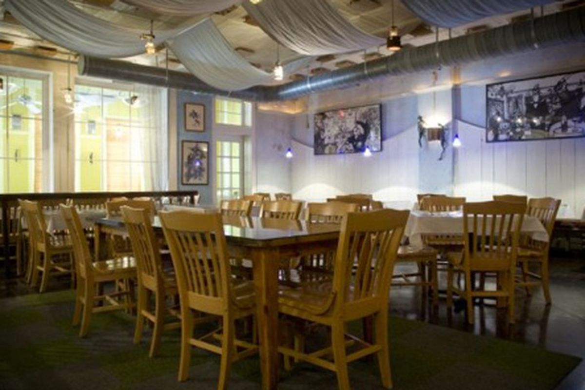 The dining room at Five and Ten in Athens.