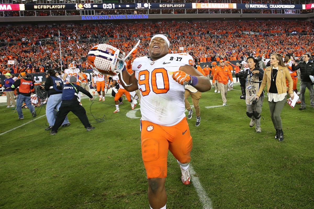 Clemson Tigers Dexter Lawrence celebrates as Clemson wins the 2017 College Football Playoff National Championship over the Alabama Crimson Tide, Jan. 9, 2017.