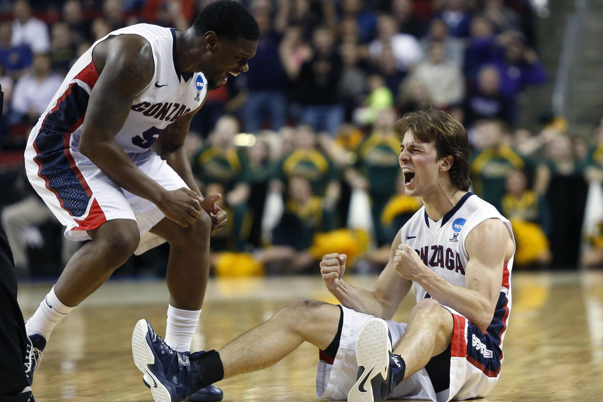 Gonzaga's senior backcourt duo of Gary Bell Jr. (left) and Kevin Pangos (right) celebrate during their NCAA Tournament round of 64 game against North Dakota State.