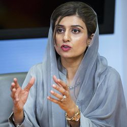 Pakistani Foreign Minister Hina Rabbani Khar, speaks to the Associated Press during an interview in Washington, Thursday, Sept. 20, 2012.