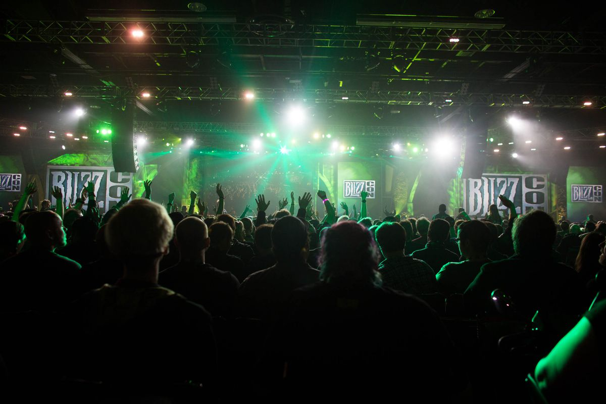 The BlizzCon stage lights up before an announcement.
