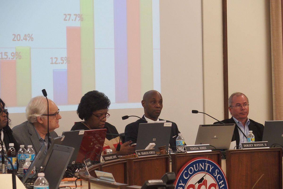 Superintendent Dorsey Hopson discusses school closings at a March board meeting.