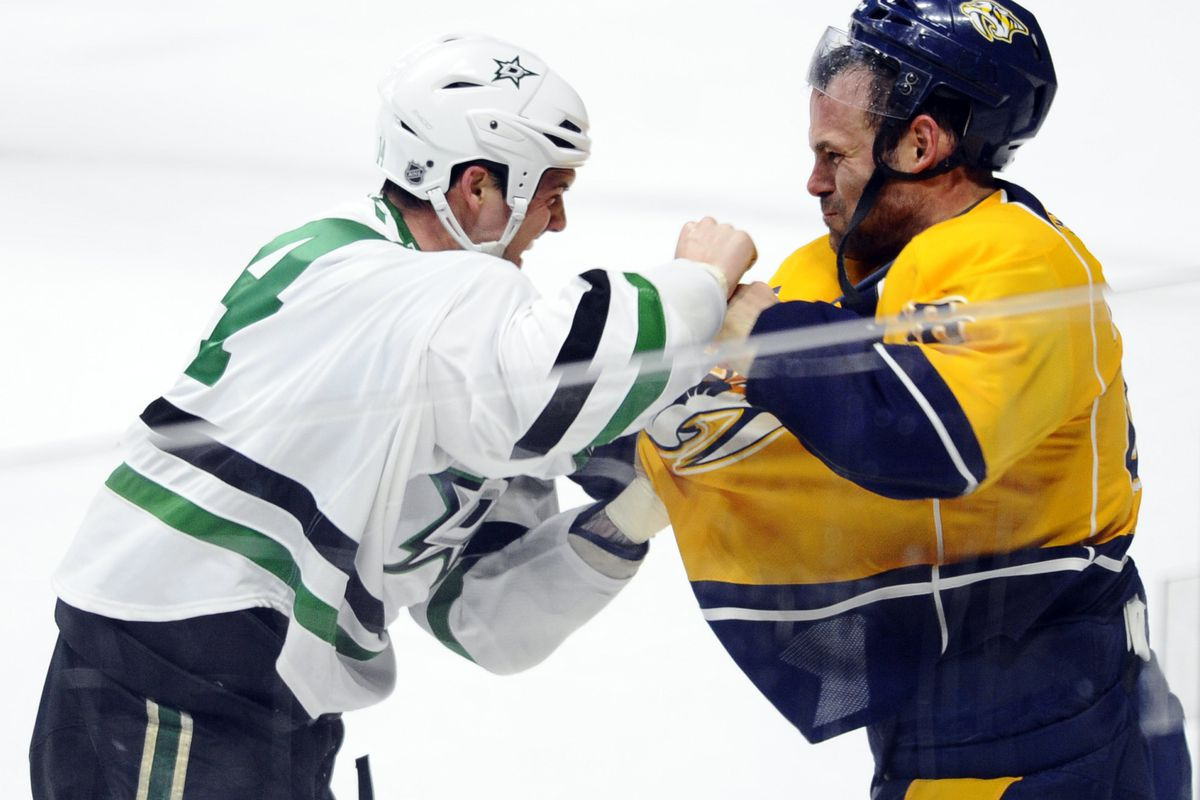 Jamie Benn was a little frustrated last night, and Paul Gaustad was DIRECTLY in his way.