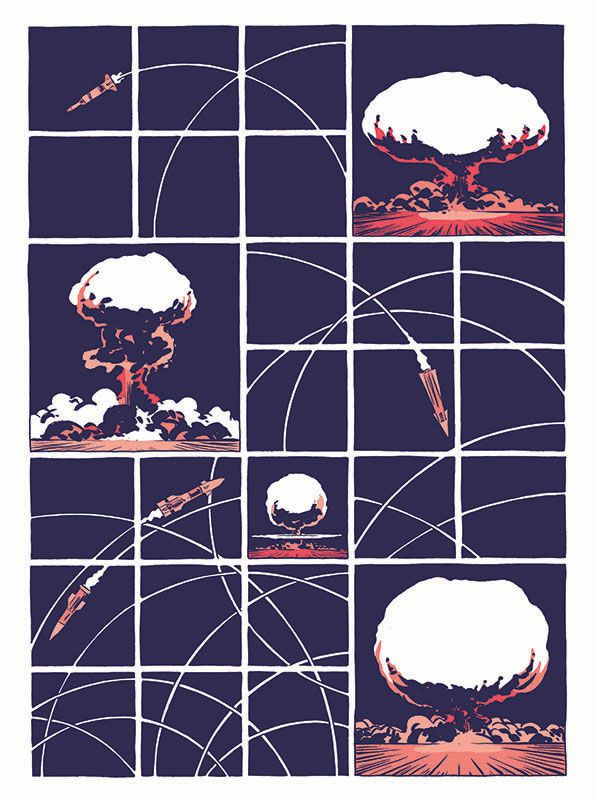 More than a dozen rocket parabola arcs swarm a cross a page of square panels and mushroom clouds, in Hedra, Image Comics (2020).