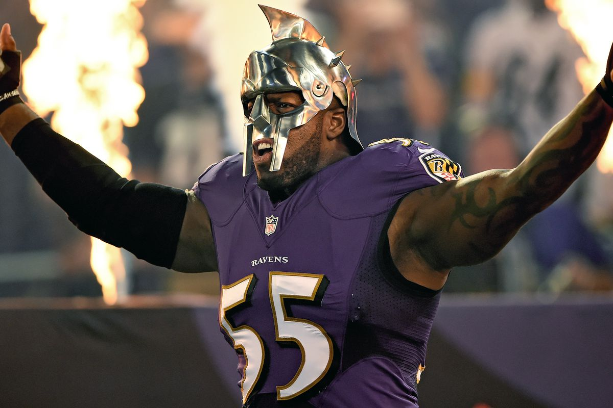 Ravens vs Steelers Terrell Suggs emerges from the tunnel wearing