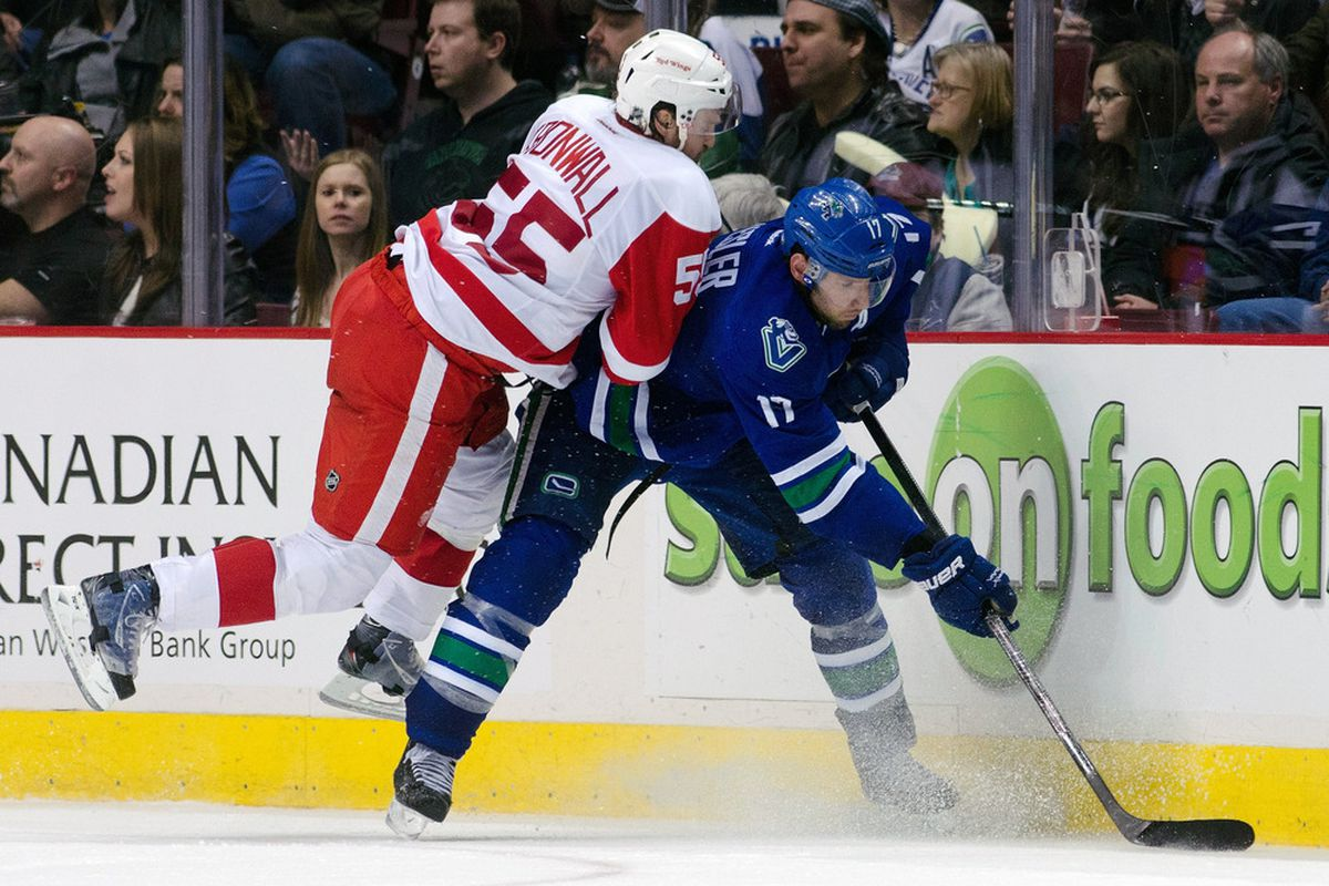 Kronwall has found a way to skate on the yellow line around the boards.