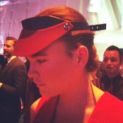 Obsessed with this visor by Jonathan Saunders.