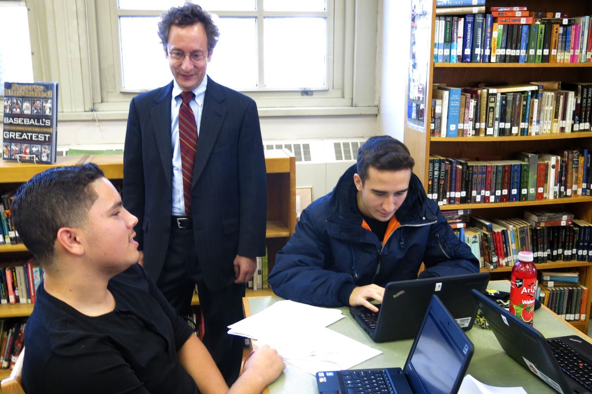 Deputy Chancellor Phil Weinberg visited the High School of Telecommunication Arts and Technology in 2014, the diverse ed-opt school in Brooklyn that he led for many years.