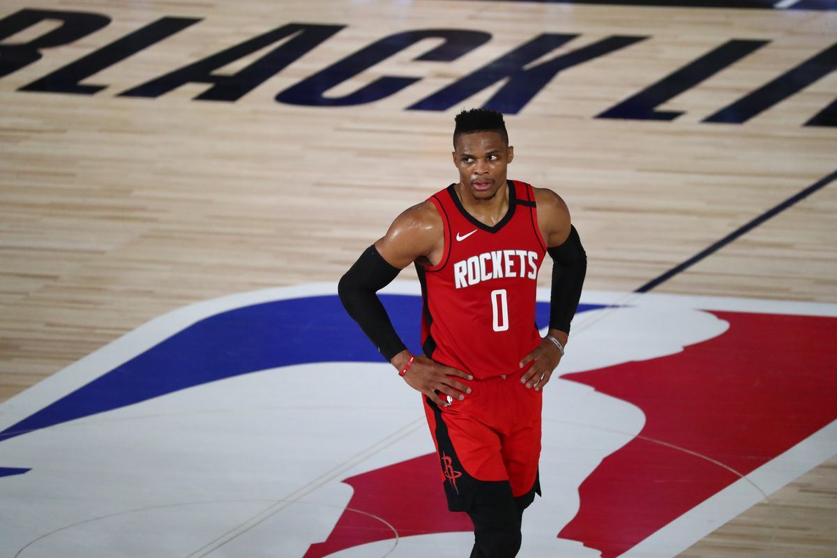 Houston Rockets guard Russell Westbrook looks on from center court during the first half of a NBA basketball game against the San Antonio Spurs at The Field House.