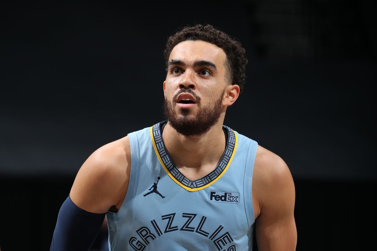 Tyus Jones of the Memphis Grizzlies shoots a free throw during the game against the Brooklyn Nets on December 28, 2020 at Barclays Center in Brooklyn, New York.