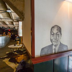 Clever sketches by LA's Haas Brothers lines the walls of the coffee bar and mezzanine lounge.