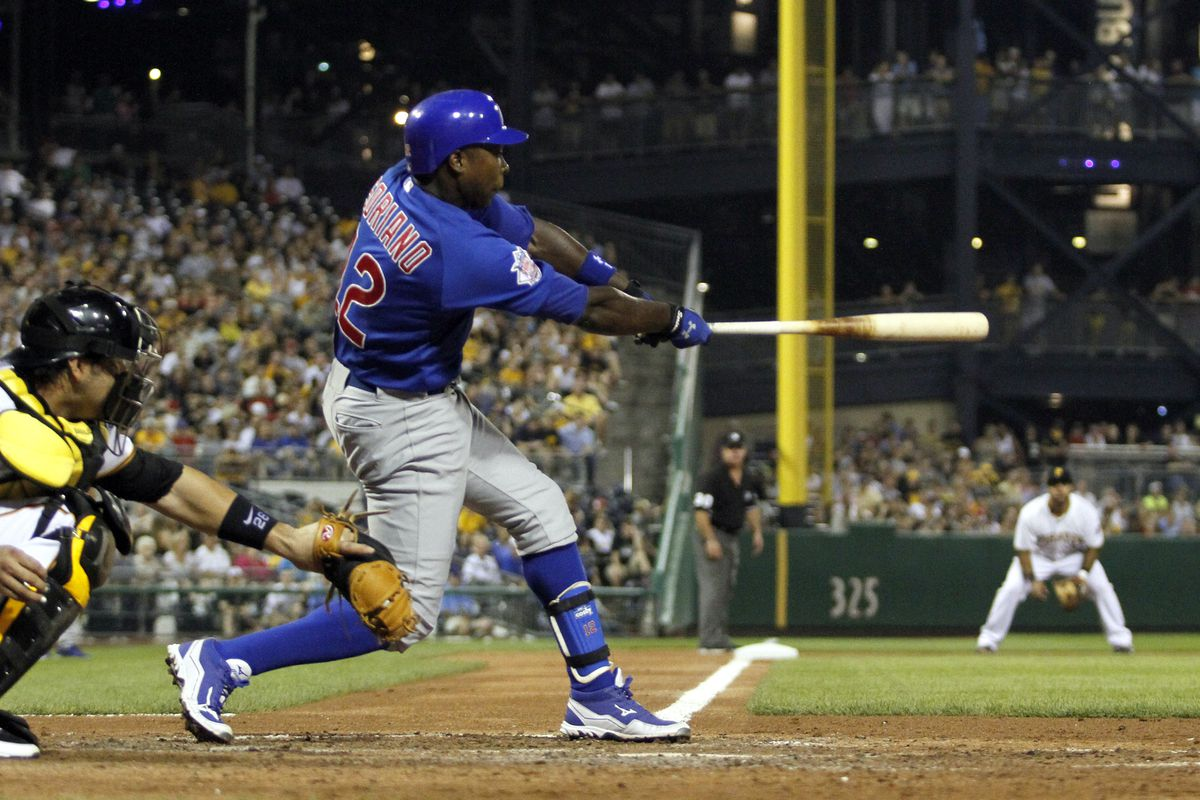 Alfonso Soriano of the Chicago Cubs hits a RBI double against the Pittsburgh Pirates at PNC Park in Pittsburgh, Pennsylvania.  The Cubs defeated the Pirates 2-0.  (Photo by Justin K. Aller/Getty Images)