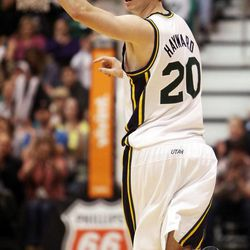 Gordon Hayward of the Utah Jazz reacts after hitting a shot in the second quarter agains Dallas during NBA basketball in Salt Lake City, Monday, Jan. 7, 2013.
