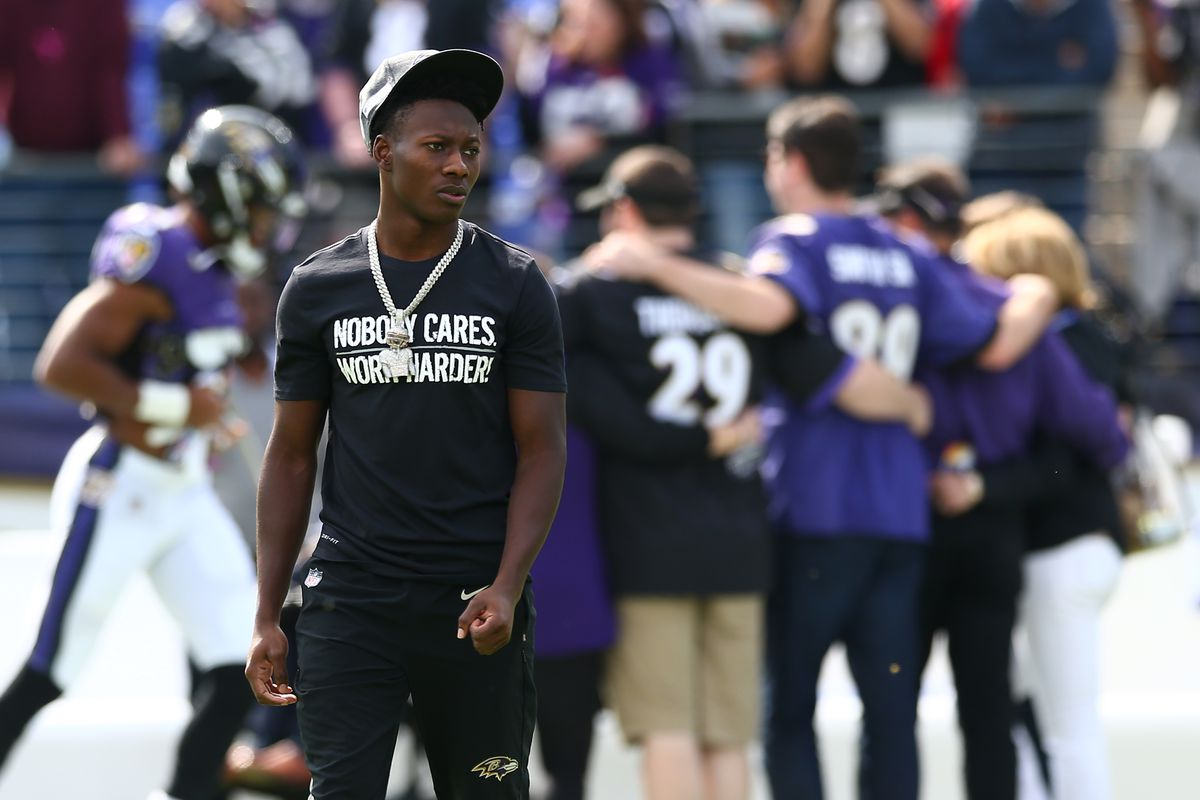 Marquise Brown of the Baltimore Ravens looks on during warmups prior to playing against Cincinnati Bengals at M&T Bank Stadium on October 13, 2019 in Baltimore, Maryland.