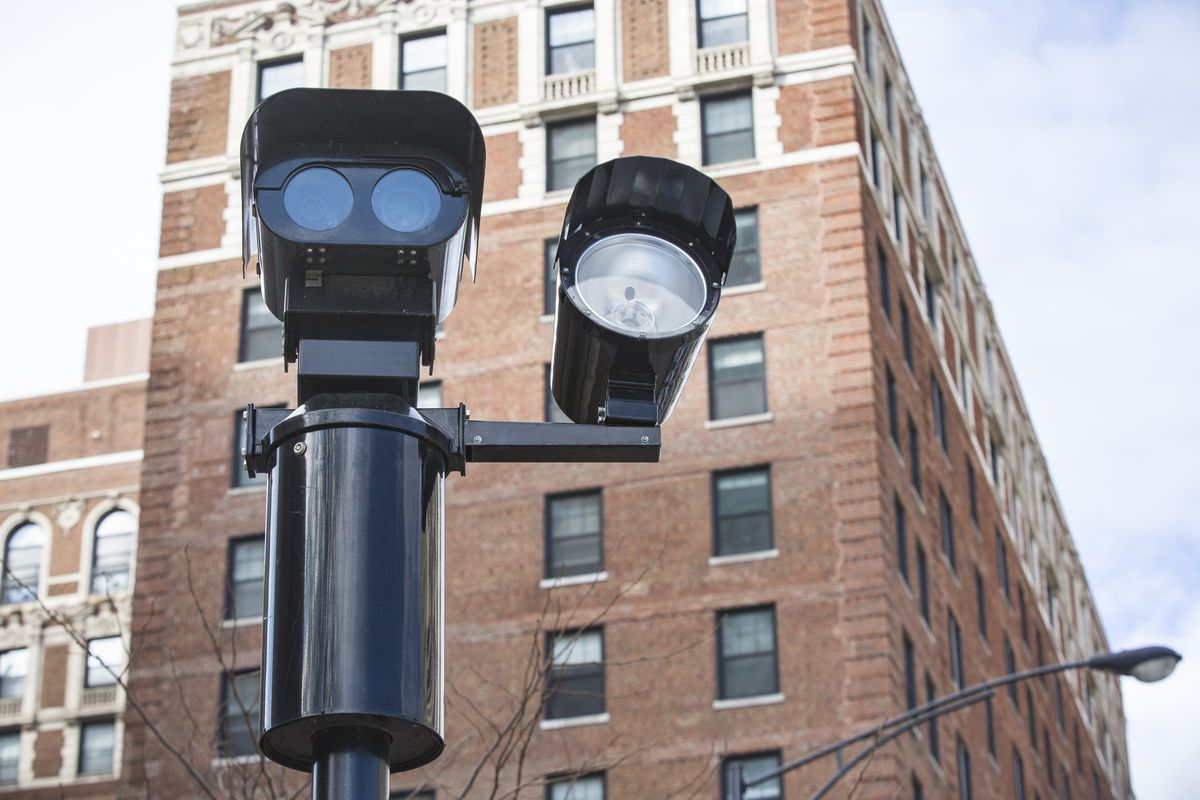 A red-light camera on Chicago's North Side.