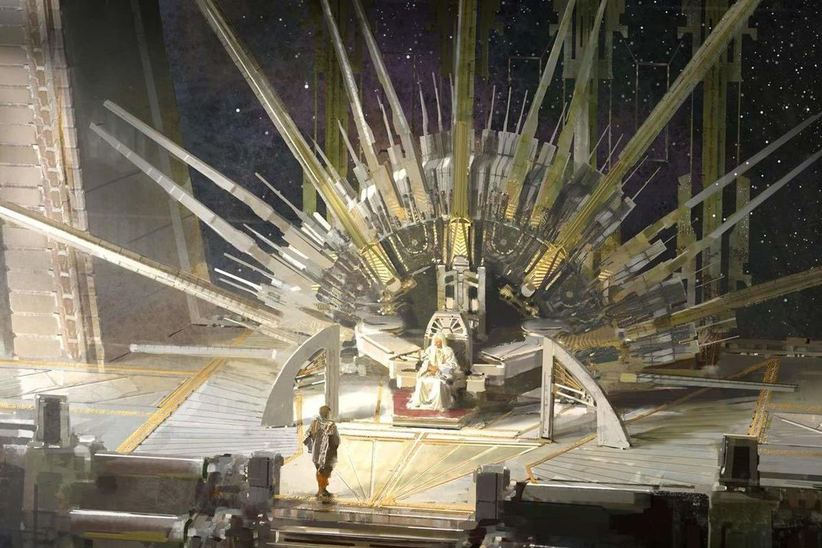 A Memory Called Empire's cover illustration of a throne that radiates spikes.