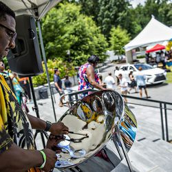 Steel drum music provides the background noise at the tasting tents.