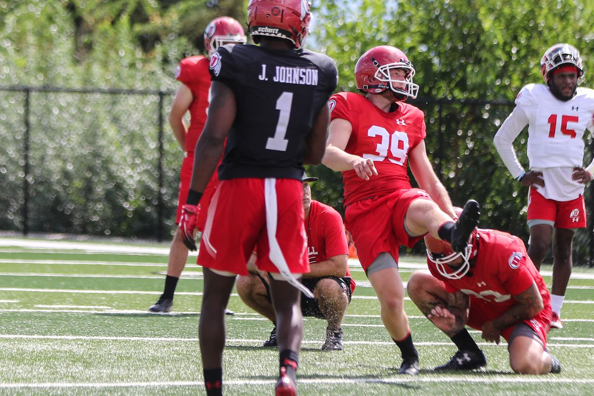 Utah kicker Andrew Strauch during fall camp earlier this month.