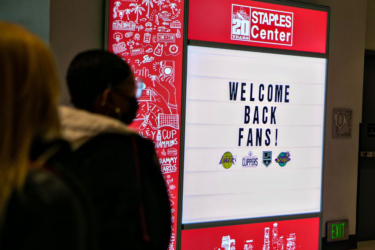 Staples Center staff prepare for fans to return to the arena...