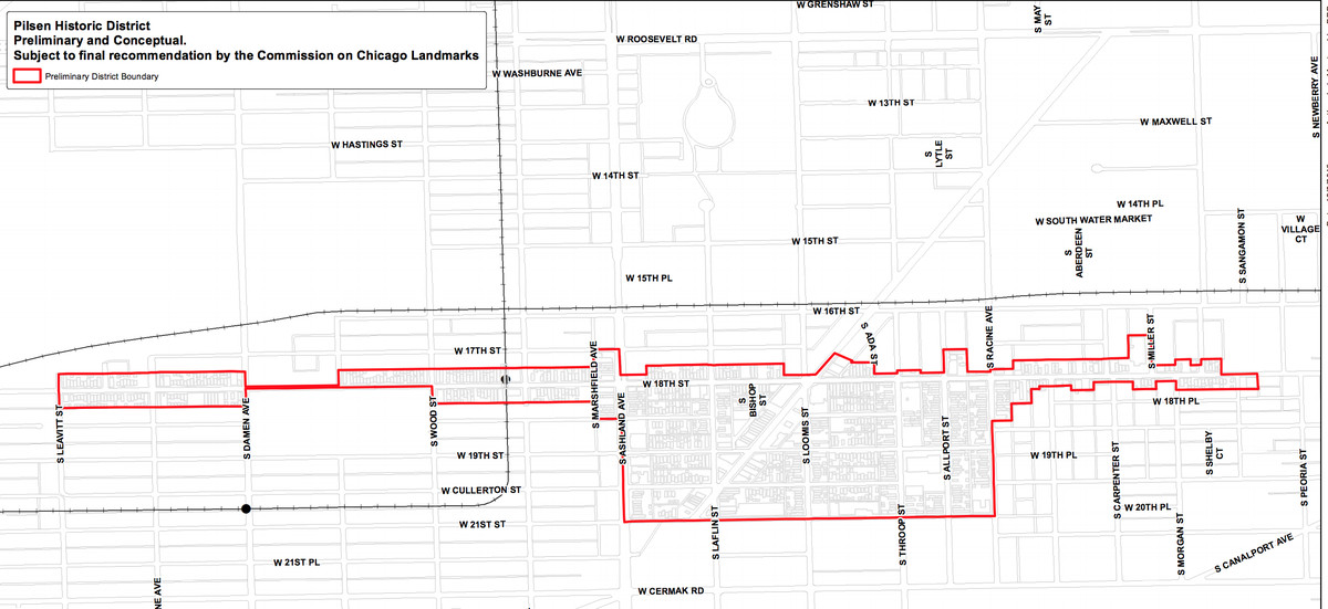 A map of the proposed Pilsen Historic District.