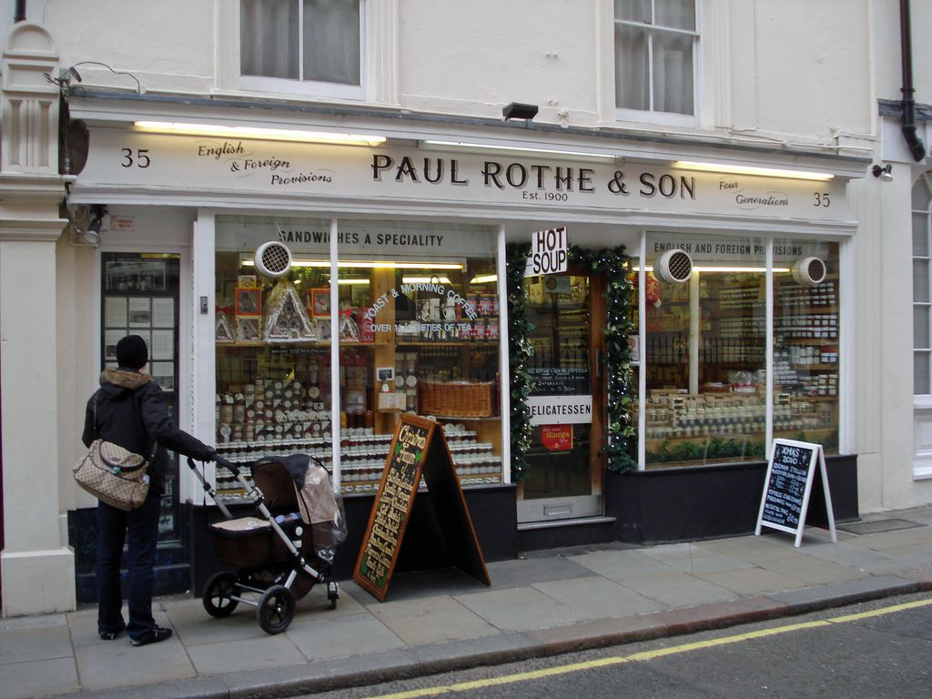 The white-painted exterior of Paul Rothe and Sons sandwich shop, one of the best value restaurants in central London