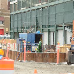 3:43 p.m. A view looking in an open work gate on Clark Street -