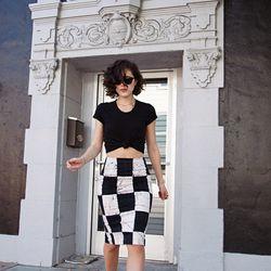 "Karla of <a href=""http://www.karlascloset.com/"">Karla's Closet</a> is wearing an American Apparel shirt, a <a href=""http://production.kellywearstler.lyonscg.demandware.net/on/demandware.store/Sites-KW-Site/default/Product-Show?pid=R612154317&source=pjn&su"