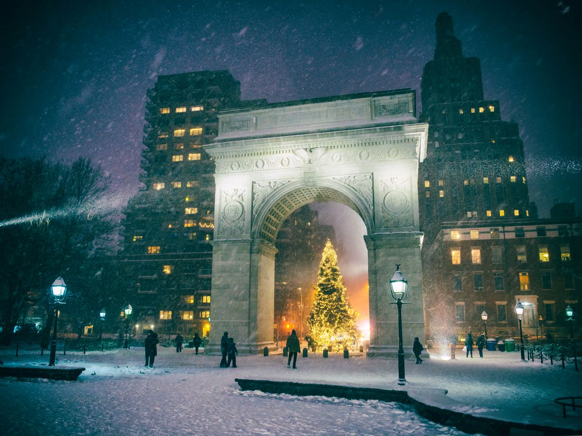 The Washington Square Park Christmas tree at night. The tree is underneath the Washington Square Park Arch. There is snow falling. It is night. There are city buildings in the background.