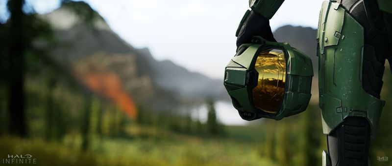 Halo Infinite - Master Chief holding his helmet at his side