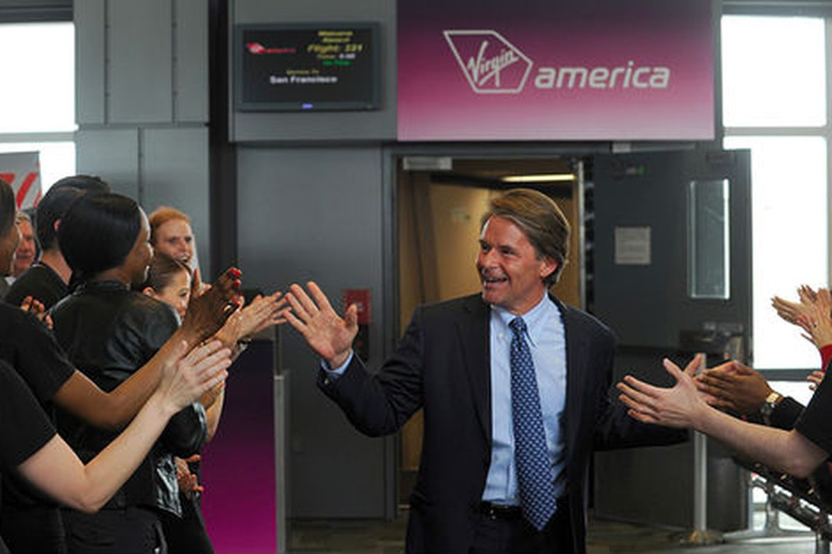 Virgin America CEO David Cush arrives on the airline's first direct flight from SFO to Austin.
