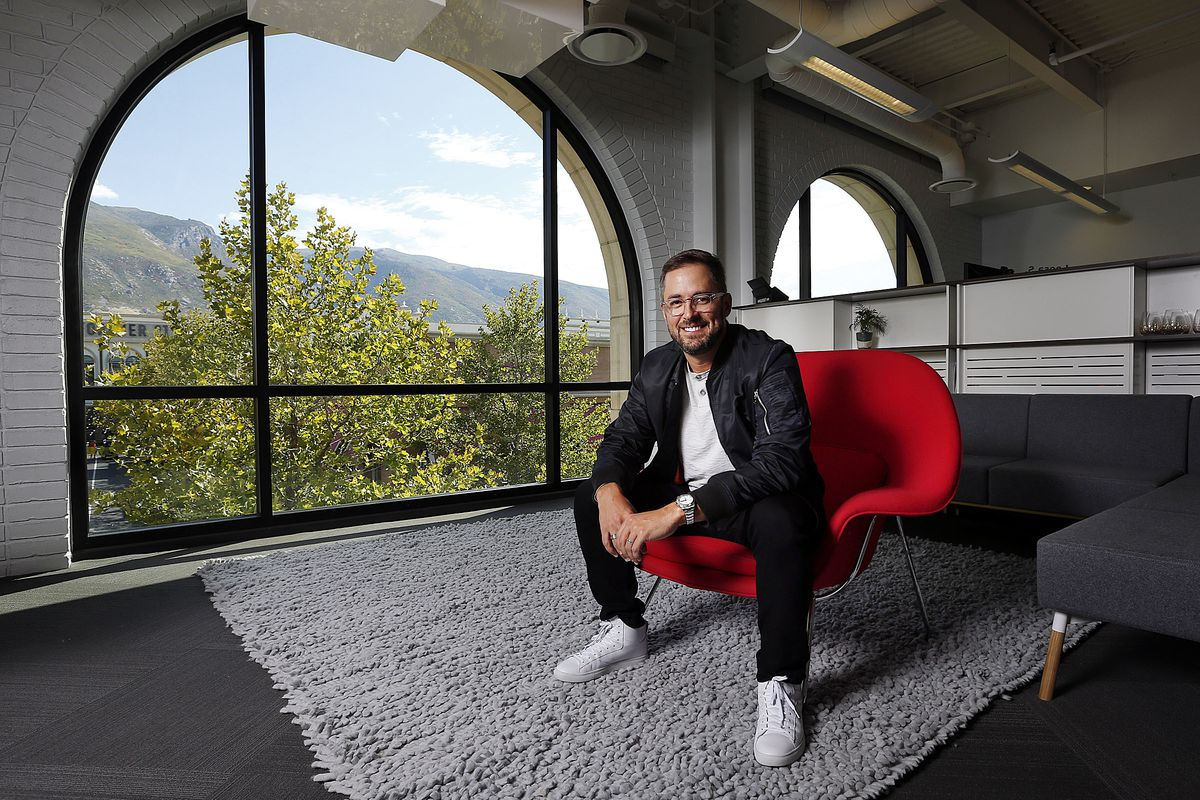 Pluralsight founder and CEO Aaron Skonnard poses for a photo at the company's headquarters in Farmington on Friday, Sept. 29, 2017.