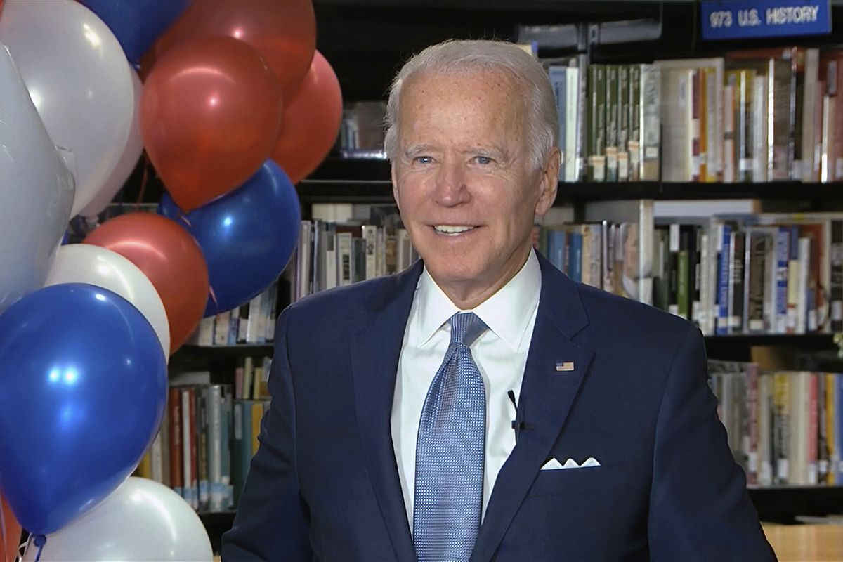 In this image from video, Democratic presidential candidate former Vice President Joe Biden smiles after the roll call vote during the second night of the Democratic National Convention on Tuesday, Aug. 18, 2020.