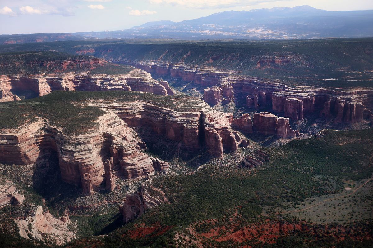 The Arch Canyon area of Bears Ears is seen as members of the media get a chance to fly over the national monument with EcoFlight on Monday, May 8, 2017.