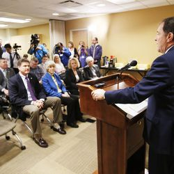 Gov. Gary R. Herbert speaks before signing two bills — HB436 and HB437 — at the Fourth Street Clinic in Salt Lake City on Friday, March 25, 2016. HB346 will pump $9.25 million into homeless services and shelters, the first of three years of funding that should eventually amount to $27 million. HB347 will provide $15 million to expand Medicaid coverage to the state's poorest of the poor.