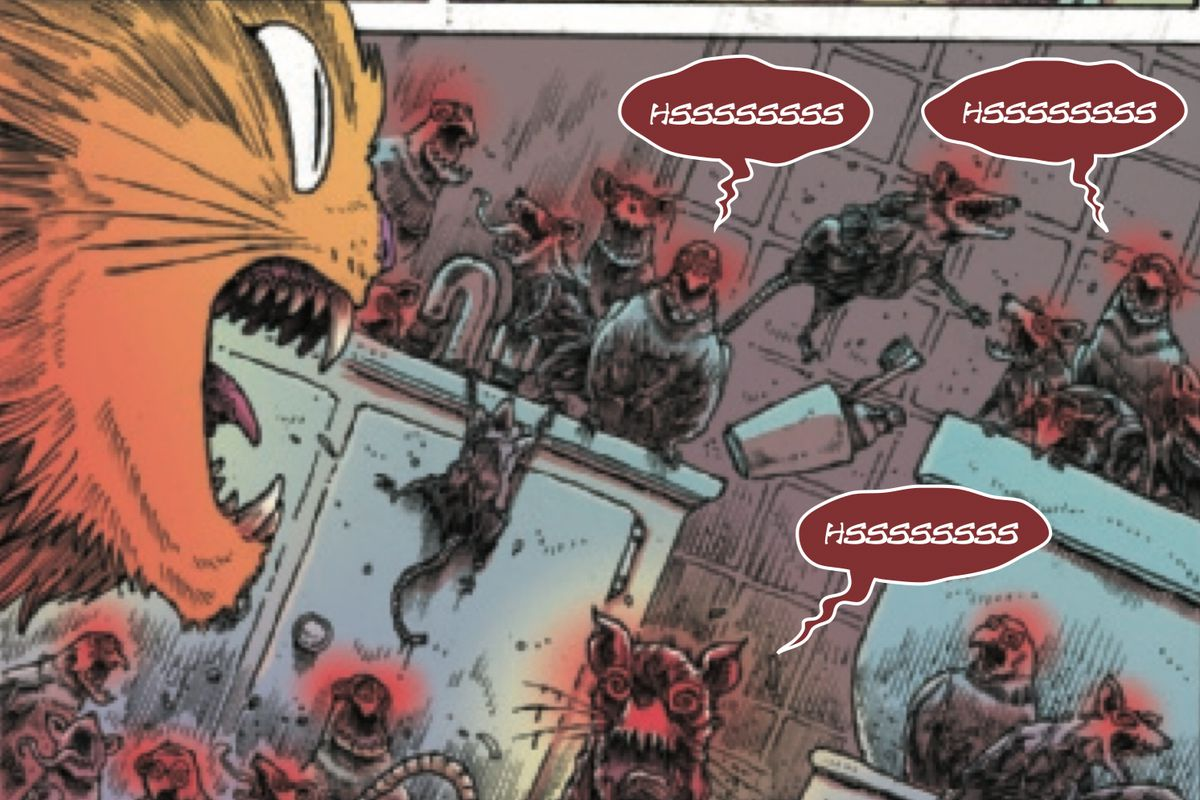 Chewie confronts a horde of Carnage-possessed rats in Captain Marvel #8, Marvel Comics (2019).