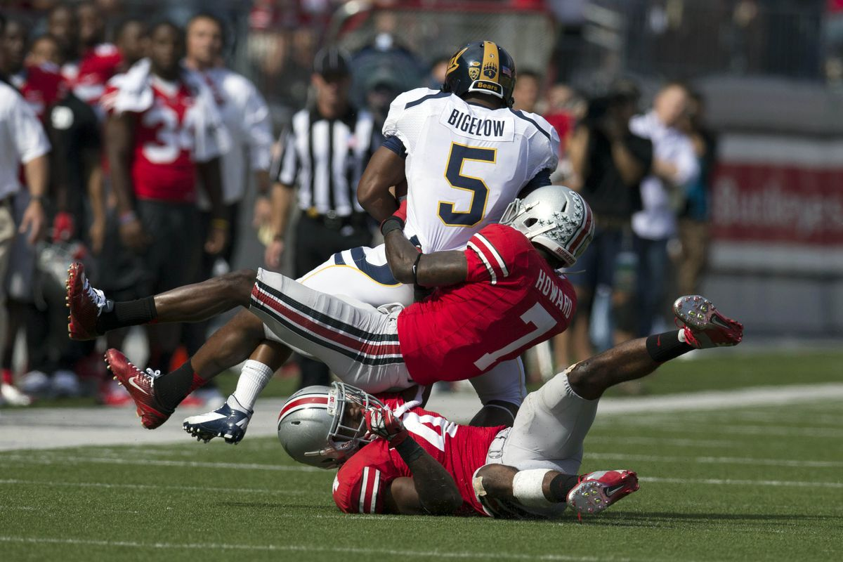 Photographic evidence that Ohio State did, in fact, tackle Brendan Bigelow at least once in Saturday's game.