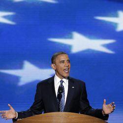 President Barack Obama addresses the Democratic National Convention in Charlotte, N.C., on Thursday, Sept. 6, 2012.