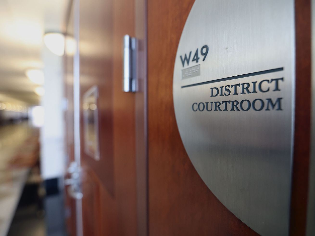 The entrance to a courtroom in the Matheson Courthouse in Salt Lake City is pictured on Friday, Jan. 22, 2021.