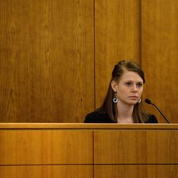 Martin Bond's ex-wife Rachel Bingham testifies on the first day of his trial in 4th District Court in American Fork Wednesday, Jan. 16, 2013. Bond is accused of killing former BYU professor Kay Mortensen in November 2009.