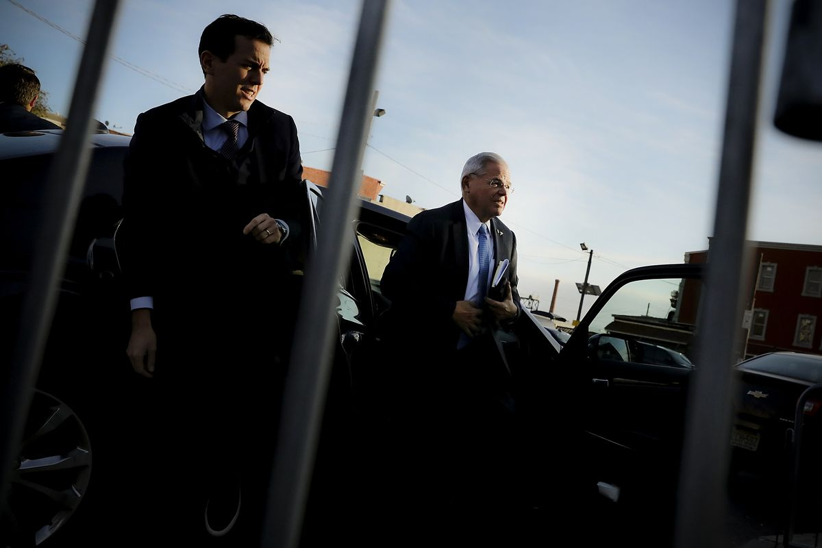 NEWARK, NJ - NOVEMBER 15:  Robert 'Bob' Menendez (right) (D-NJ) walks out of his car with his son Robert Jr., as he arrives at federal court, on November 15, 2017 in Newark, New Jersey. The jury continues to deliberate in his corruption trial.  (Photo by Spencer Platt/Getty Images)