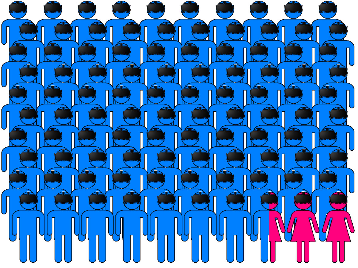 A graphic representing many men and only two women