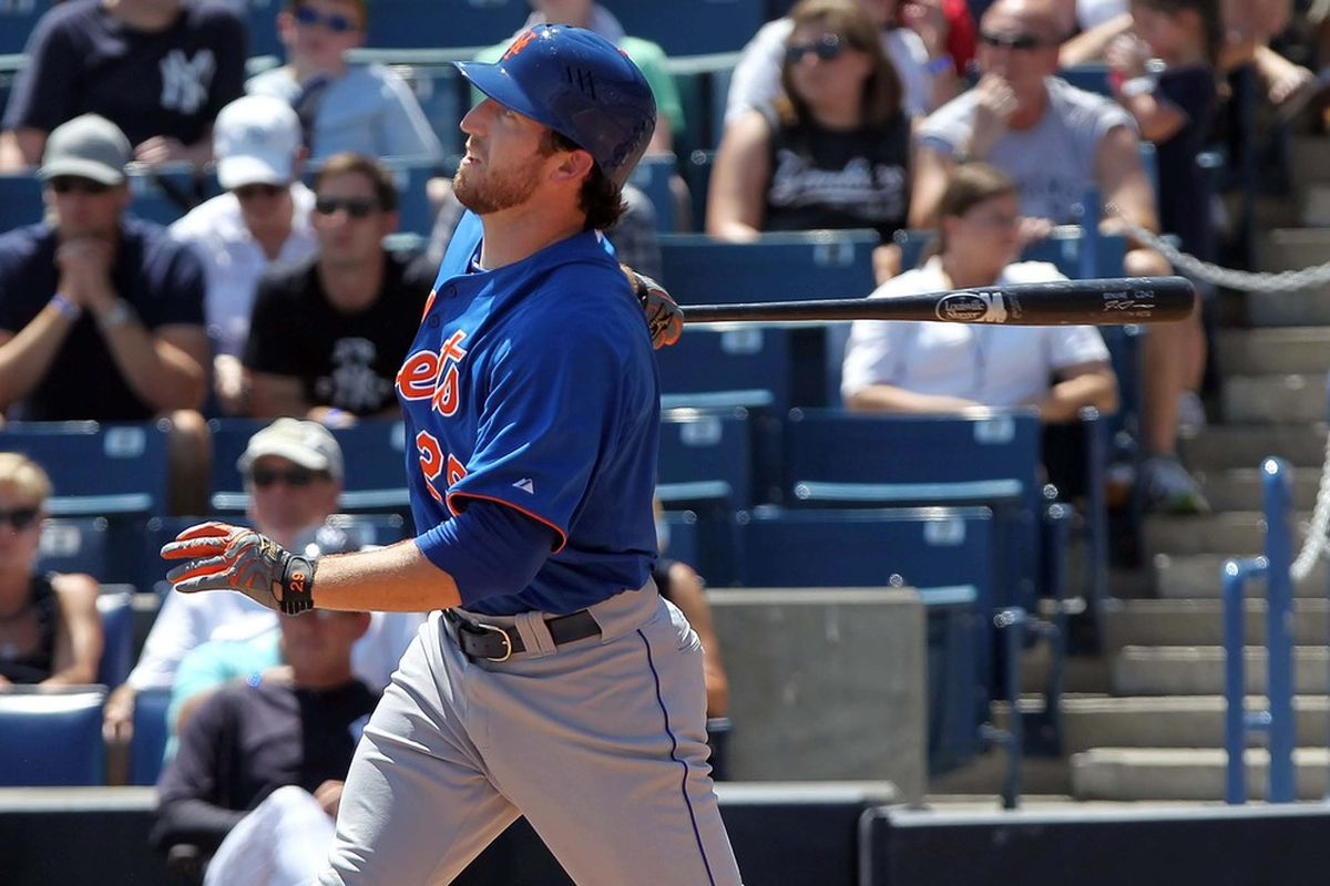 April 4, 2012; Tampa, FL, USA; New York Mets first baseman Ike Davis (29) hits a three-run home run in the third inning against the New York Yankees at George M. Steinbrenner Field. Mandatory Credit: Kim Klement-US PRESSWIRE