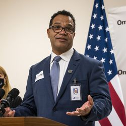 Chicago Public Schools Interim Chief Executive Officer José Torres speaks during a news conference at Ombudsman Chicago South Alternative School.