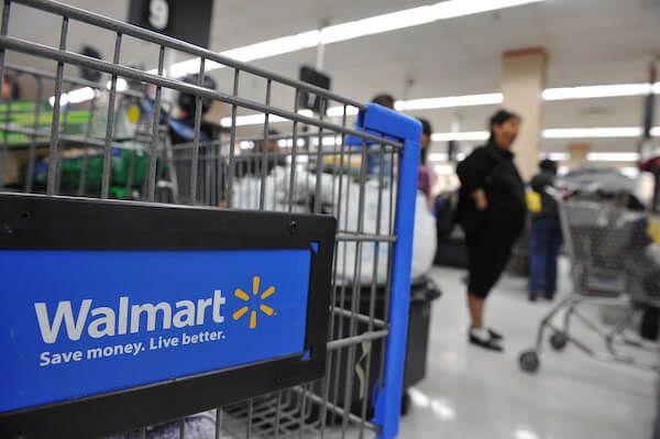 A Walmart shopping cart.