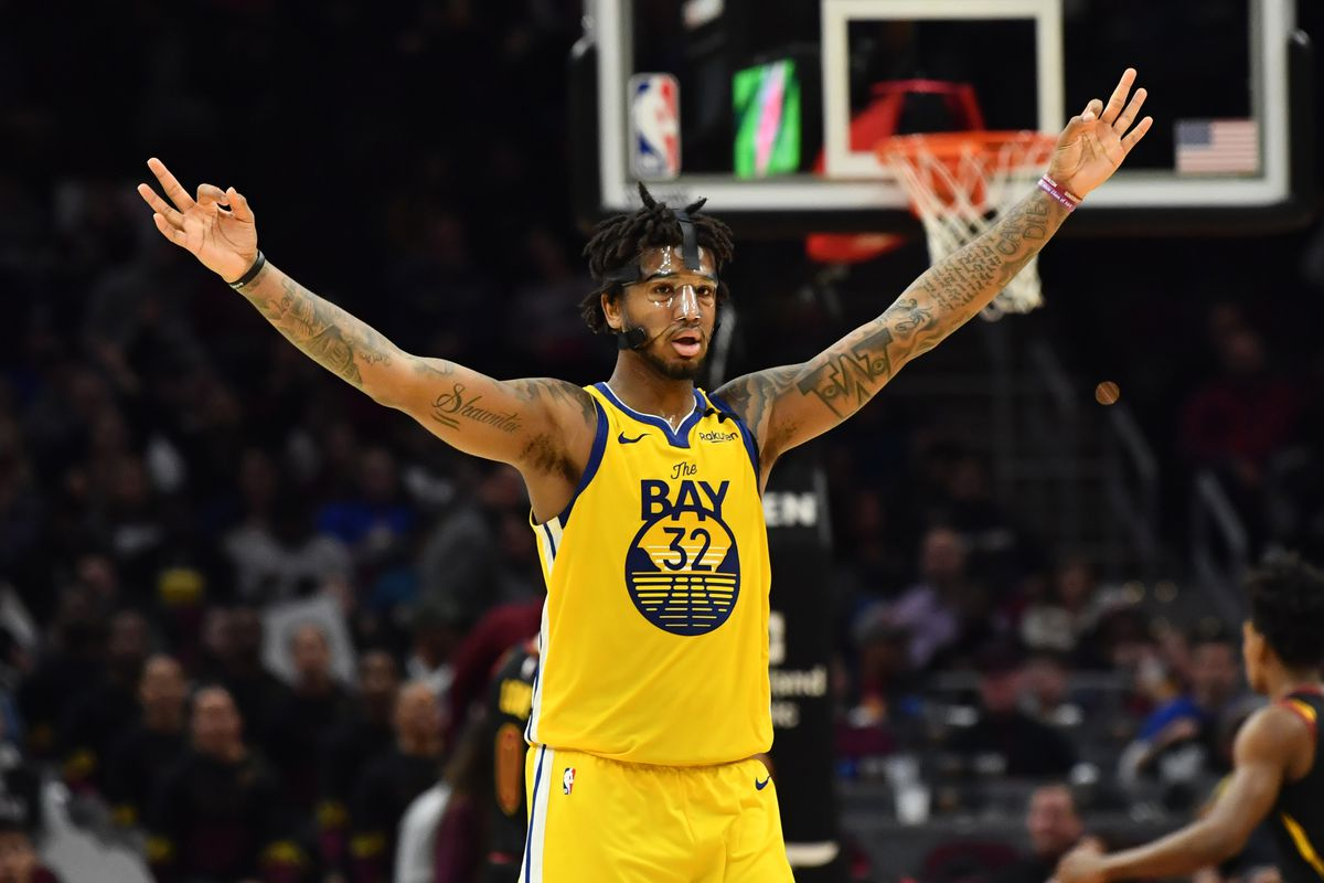 Golden State Warriors forward Marquese Chriss celebrates after a three-pointer during the second half against the Cleveland Cavaliers at Rocket Mortgage FieldHouse.
