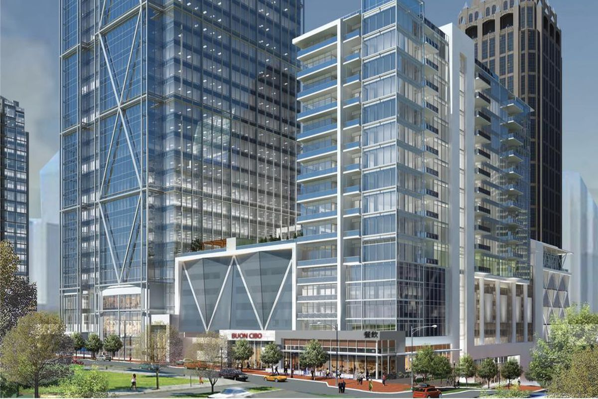 The glass towers proposed at 1105 West Peachtree St, with angular steel accents.