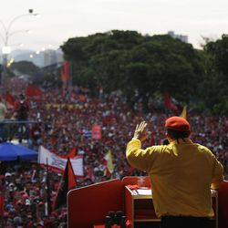 FILE - In this July 14, 2012 file photo, Venezuela's President Hugo Chavez speaks to supporters at a campaign rally in Barquisimeto, Venezuela. When he takes the stage at campaign rallies, Chavez stands alone. Under Venezuela's election system, presidential hopefuls don't choose running mates. The lack of a No. 2 leaves voters with a big unknown ahead of next month's presidential election and raises question about who in fact would take over were Chavez to win and leave office prematurely.