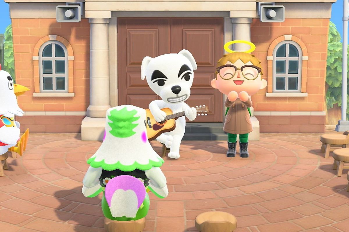 KK Slider performs for the player in Animal Crossing: New Horizons.