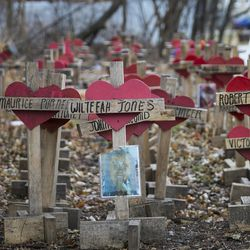 Greg Zanis, a retired carpenter from Aurora, built nearly 800 crosses for every Chicago homicide victim of 2016, which are on display in a vacant lot near South Bishop and West 56th streets, Thursday afternoon, Jan. 11, 2018.