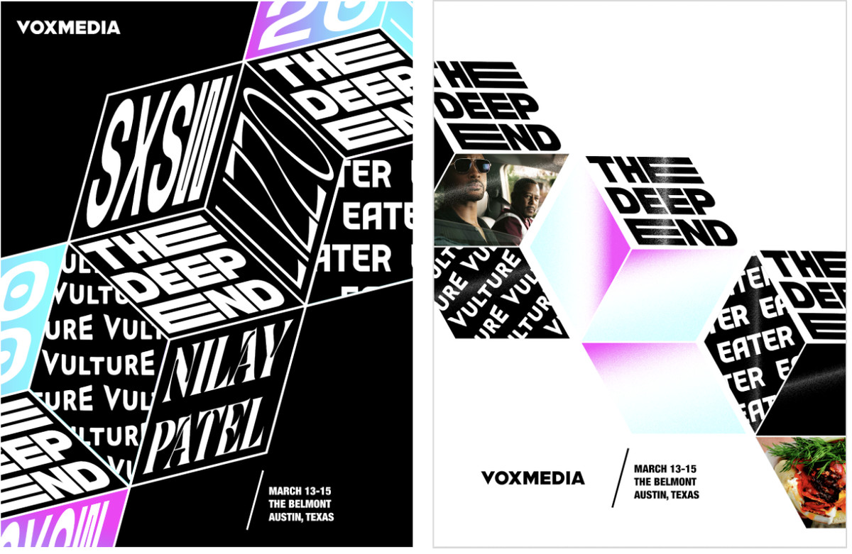 """Posters for """"The Box"""" concept showcasing typographical treatments for talent and brands"""